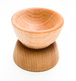 Wood Pinch Bowls. Two wooden pinch bowls stacked on top of each other on white background Royalty Free Stock Images