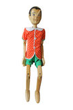 Wood Pinocchio, Pinokio on a white, Buratino 2. In a photo it is possible to see a wooden toy of the big size Royalty Free Stock Images