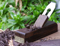 Wood plane and shavings Royalty Free Stock Image