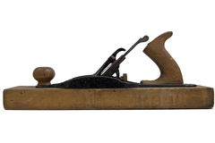 Wood plane tool. An old wood plane hand tool on a white background stock images