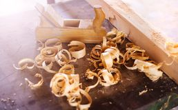 Wood planer and shavings Stock Images