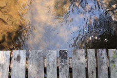 Wood plank above the river Royalty Free Stock Photos