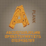 Wood Plank Alphabet and Numbers Vector Royalty Free Stock Photos