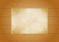 Wood plank background with old paper Stock Photos