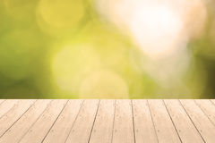 Wood Plank with Bokeh Background Stock Photography