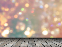 Wood plank floor and bokeh background Royalty Free Stock Photo