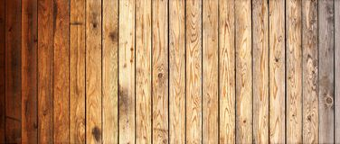 Wood plank panel banner or background. Rough wood textured plank panel wall with natural wood grain banner or background Royalty Free Stock Photo