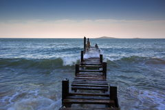 Wood plank road end of the pier Stock Photography