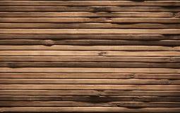 Wood plankabakgrund, brun trätextur, bambuplankavägg Royaltyfria Bilder