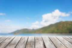 Wood planks floor. With blurry Scenic landscape Royalty Free Stock Photos