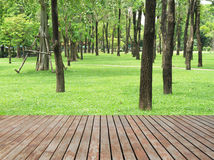 Wood planks floor and green garden Stock Images