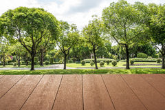 Wood planks floor and roof near the flower garden Royalty Free Stock Image