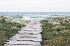 Wood Planks on Path to Ocean Stock Photography