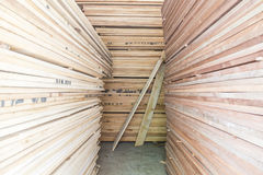 Wood planks prepare in industry Royalty Free Stock Photography