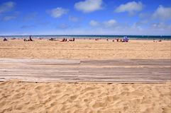 Wood planks promenade on the beach of Trouville Stock Images