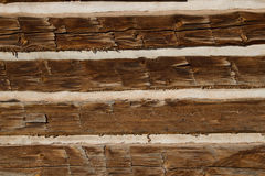 Wood Planks from Rustic Log Home. Close up shot of old rustic wooden planks used to build a log home royalty free stock images