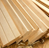 Wood planks with sawdust Royalty Free Stock Image