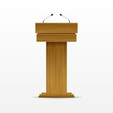 Wood Podium Tribune Rostrum Stand with Microphone Royalty Free Stock Photo