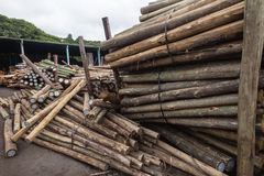 Wood Poles Yard Royalty Free Stock Photos