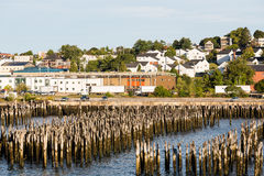 Wood Posts in Harbor of Portland Maine Stock Image
