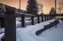 Wood Posts at Utica Historic Marina, Utica, New York royalty free stock photo