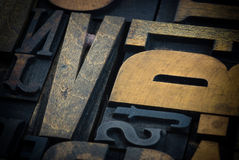 Wood print letter cases Stock Photos