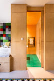 Wood and private bathroom. In trendy teenager room Stock Photo