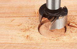 Wood processing, auger drilling, close up Stock Photography