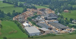 Wood processing company in the village of Sankt Sebastian Stock Images