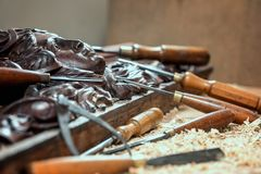 Wood processing. Joinery work. wood carving. chisels for carving close up. Stock Photos