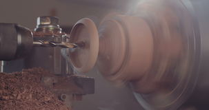 Wood processing on a lathe stock footage