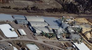 Wood processing plant. Aerial view of wood processing plant in Western Montana Stock Images