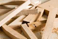 Wood products are on the bench Royalty Free Stock Images