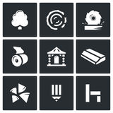Wood products industry icons set. Vector Illustration. Royalty Free Stock Images