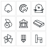 Wood products industry icons set. Vector Illustration. Stock Image