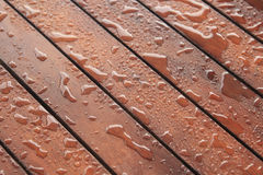 Wood protection, construction background, water drops on wood surface. Wood stained and sealed from water Stock Image