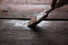 Wood protection with preserver. Painter holding a paintbrush over wooden surface, protecting wood for exterior influences and weathering.  Do-it-yourself concept Stock Photos