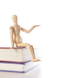 Wood puppet sit on books Stock Photography