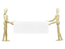 Wood Puppets Holding Sign Stock Photography