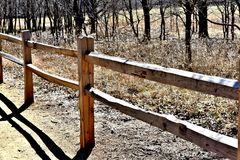 Wood Rail Fence at Martin Nature Park. First Day of Spring at Park in Oklahoma City stock photos