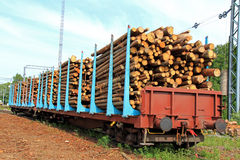 Wood in Railcars Royalty Free Stock Photos