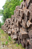 Wood Railroad Ties Stacked High And Far Royalty Free Stock Photography