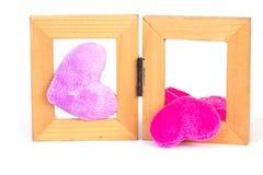 Wood ram för rosa tyg - materielbild royaltyfria foton