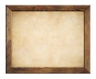 Wood ram med gammal pappers- bakgrund Royaltyfri Foto