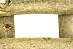 Wood ramvit för Grunge arkivfoto