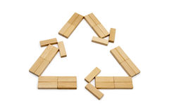 Wood recycle. Recycle symbol made from natural wood blocks Stock Image
