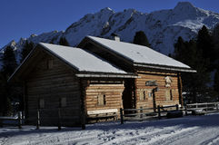 Wood refuge in the Dolomites Royalty Free Stock Images