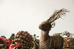 A wood reindeer and pine ornament royalty free stock photography