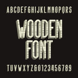 Wood retro alphabet vector font. 3D wooden sans serif type letters and numbers. Vintage vector typography for labels, headlines, posters etc Royalty Free Stock Photo
