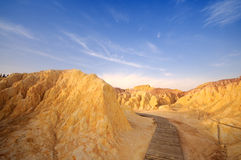 Wood road at Xinjiang desert,Western China Stock Photography
